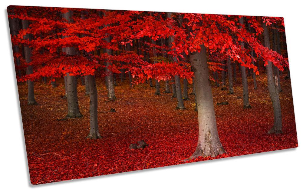 rosso BOSCO BOSCO BOSCO Paesaggio Foto Panoramica Tela Wall Art Print 69e769