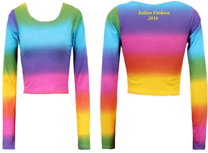 NEW-WOMENS-RAINBOW-STRIPE-PRINT-MULTI-COLOUR-LONG-SLEEVE-LADIES-JERSEY-CROP-TOP