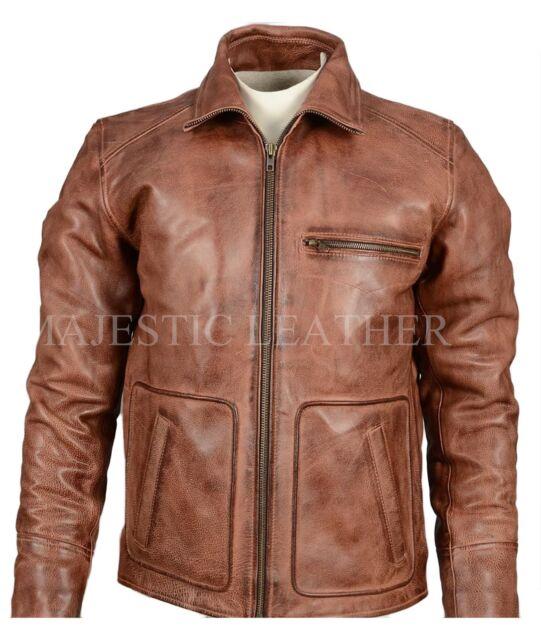 Mens Classic Biker Vintage Motorcycle Distressed Brown Leather Jacket