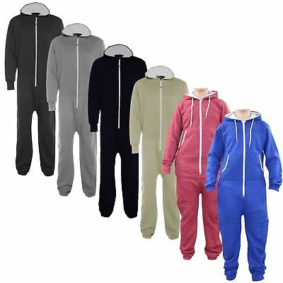 New Unisex Ladies Mens Diamond Quilted Patches Hooded All In One Jumpsuit