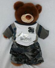 Build a Bear Skater Camo Plush Stuffed Bear Animal Toy Skate Board Half Pipe