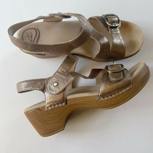 Dansko Womens Metallic Bronze Shari Leather Sandal