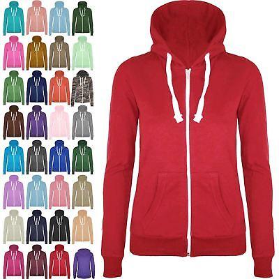 FleißIg Womens Ladies Girl Plain Hoodie Hoody Sweatshirt Hooded Jumper Jacket Zip Up Top Einfach Zu Schmieren
