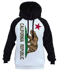 White Ca California Life Republikein Hoodie Bear Raglan Flag B449 Pride Cali PXZuwlOkiT