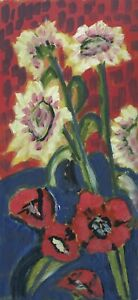 Expressionist-Anonymous-Still-Life-with-Sunflowers-And-Poppy-Modern-Oil-Painting
