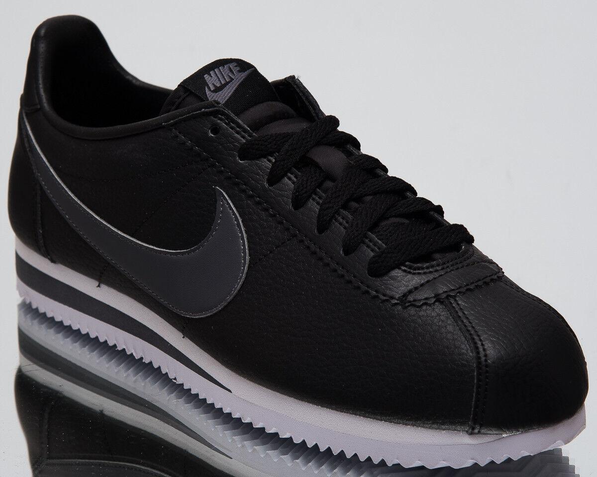Nike classico cortez cuoio uomini lo stile di vita di scarpe nere e scarpe da ginnastica grigia 749571-011