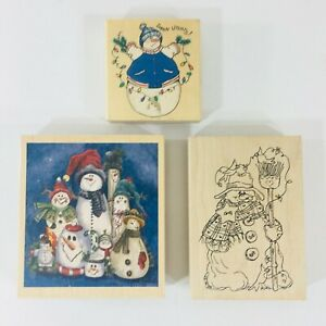 Snowman-Rubber-Stamps-Set-of-3-Holiday-Greetings-Projects