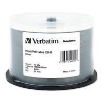 Verbatim Cd-r Discs Printable 700mb/80min 52x Spindle Silver 50/pack 94892 on sale