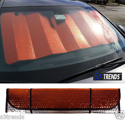 Reversible Chrome & Red Front Window Windshield Sun Shade Accordion Car Std Sz