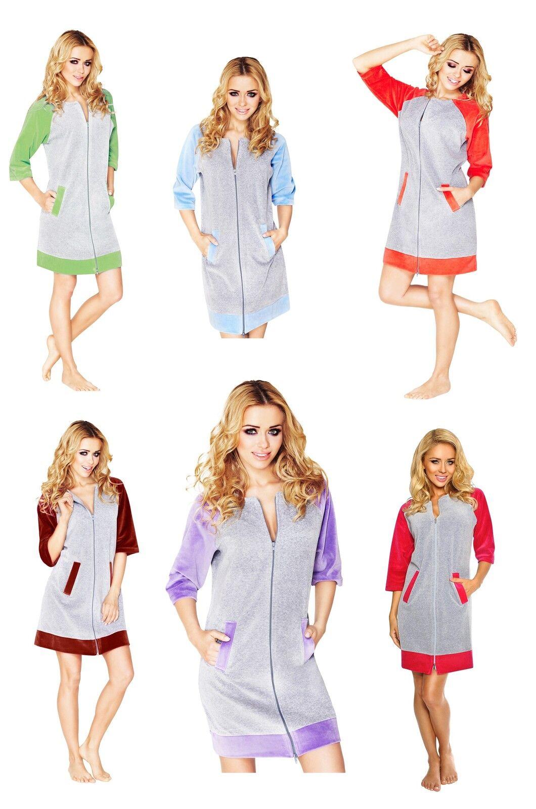 New Women Girl Cotton Housecoat Dressing Gown Bathrobe Zip Up Size