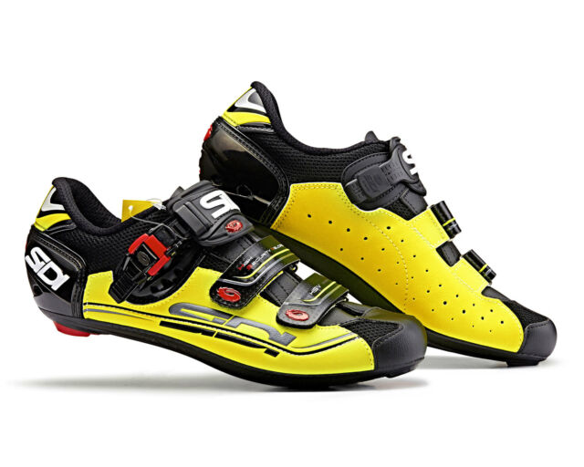 SIDI Genius 5 Fit Road Cycling Shoes Bike Shoes Black//Yellow Fluo Size 36-46 EUR