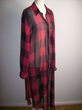 Zara CHECK RED BLACK LONG SHIRT  BLOUSE  SIZE UK XL