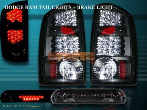 2002-2006 DODGE RAM TAIL LIGHTS+3RD BRAKE LIGHT JDM BLACK LED 2003 2004