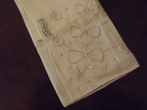 Vintage handkerchief white floral applique embroidery cm