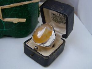 SUPERB-HUGE-SOLID-STERLING-SILVER-AGATE-SIGNET-RING-SIZE-X-11-5-HEAVY-BYKER-RARE