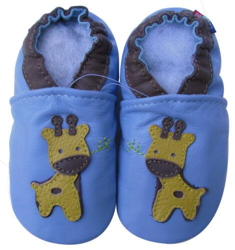 Carozoo Little Giraffe Bleu Clair 2-3y Semelle Souple Cuir Bébé Chaussures