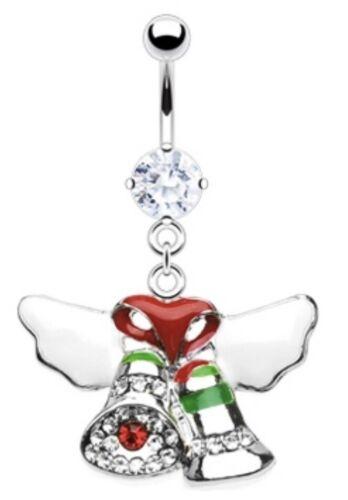 NEW /& SEALED Crystal Ribbon /& Bells Christmas xmas dangle belly navel bar ring