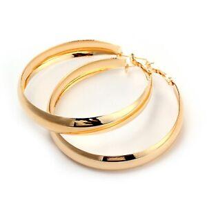 18K-Rose-GOLD-GF-Elegant-Large-Hoop-High-Polished-Ladies-Dangle-Solid-Earrings