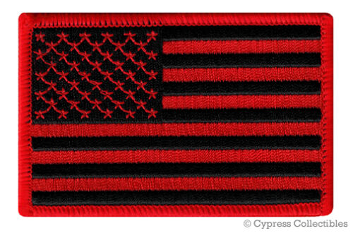 AMERICAN FLAG EMBROIDERED PATCH iron-on US BLACK RED embroidered United States