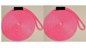 "Solid Braid Nylon Dock Line 1//2/"" x 15/' Floats UV USA MADE 2-PACK! LIME GREEN"