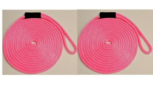 "Floats 2-PACK!! Solid Braid Nylon Dock Line 5//8/"" x 15/' Made in USA // PINK!"