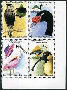 Uruguay 1718 ad block,MNH.Michel 2347-2350. Birds 1994:Plyborus plancus,Cygnus