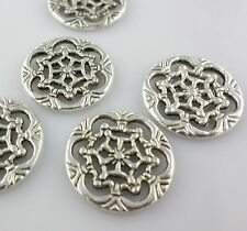 14pcs Tibetan silver Round Carving Flower Connectors Bails Charms 18*1.5mm
