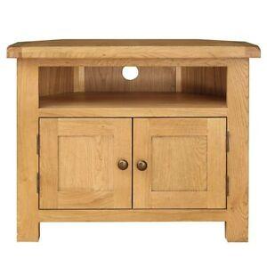 Classic Cotswold Oak Corner Tv Unit Home Furniture Living Room