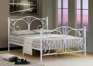 4ft 4ft6 Double 5ft King Black Or White Metal Bed Frame With