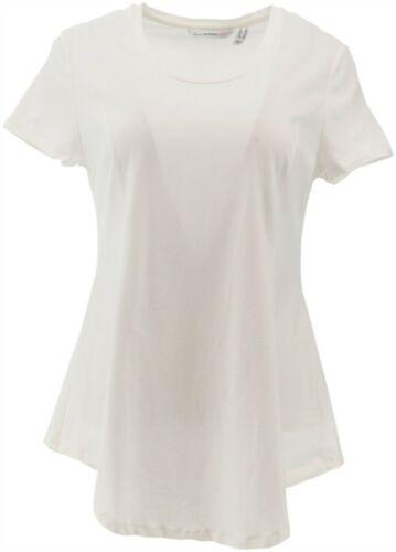 Isaac Mizrahi Short Slv Peplum Top Bright White L NEW A305241
