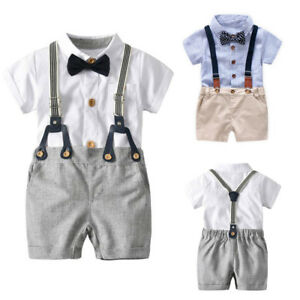 339a8f958 Image is loading Toddler-Baby-Boys-Summer-Gentleman-Bowtie-Short-Sleeve-