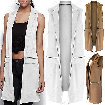 Womens Ladies Front Open Sleeveless Long Duster Coat Waistcoat Blazer Plus 8-22