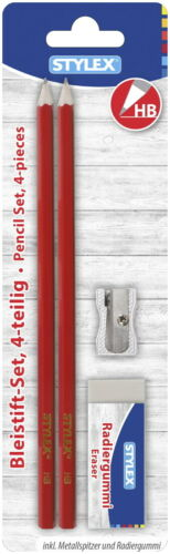 rot 1 Metall-Anspitzer Farbe Bleistiftset 2 Bleistifte HB Radierer