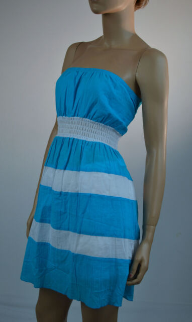 Turquoise and White Halter Dress