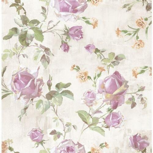 Wallpaper Designer Lavender Beige Green Rose Trail on Cream Taupe Faux
