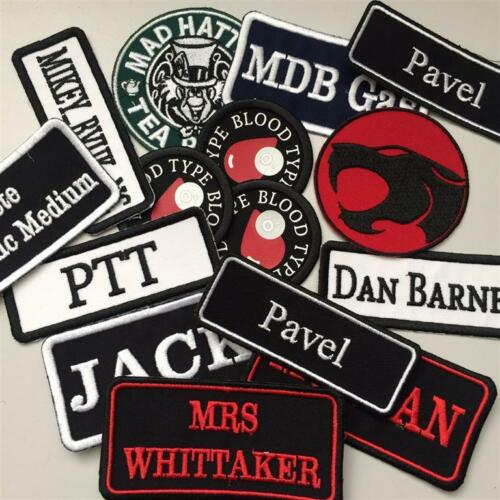WBW Rectangular 2 Line Custom Embroidered Biker SEW ON  Name Tag PATCH