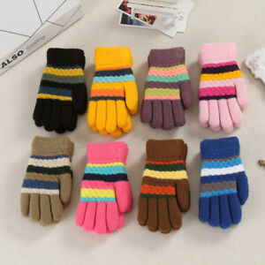 Lively Toddler Baby Thicken Girl Boy Striped Finger Warm Knitted Mittens Gloves