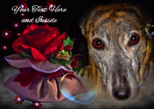 insert PERSONALISED GREYHOUND LURCHER WHIPPET DOG BIRTHDAY CHRISTMAS etc CARD