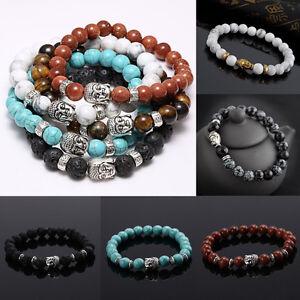 Men-Women-Lava-Rock-Bracelet-Natural-Gemstone-Beads-Buddha-Head-Beaded-Handmade