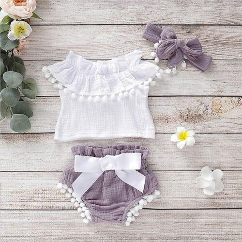 UK Newborn Infant Baby Girls Kids Ruffle Tops Shorts Summer Cotton Linen Clothes