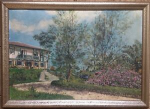 Italy-Tuscany-Oil-Paintings-Villa-Park-Oil-Painting-Antique-1925-Signed-Italy