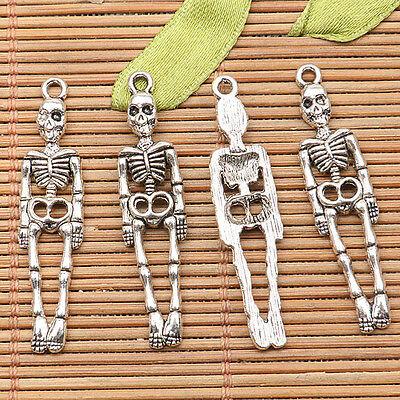 14Pcs  tibetan silver tone 36mm long bone of human design charms H1143