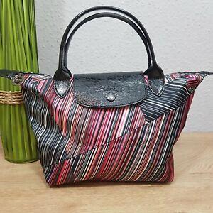 Details zu Longchamp modele depose Stofftasche Shopper original Streifen Sonderedition