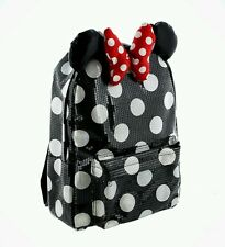 DISNEY PARKS BLACK POLKA DOT SEQUIN MINNIE MOUSE BOW BOOK BAG BACKPACK