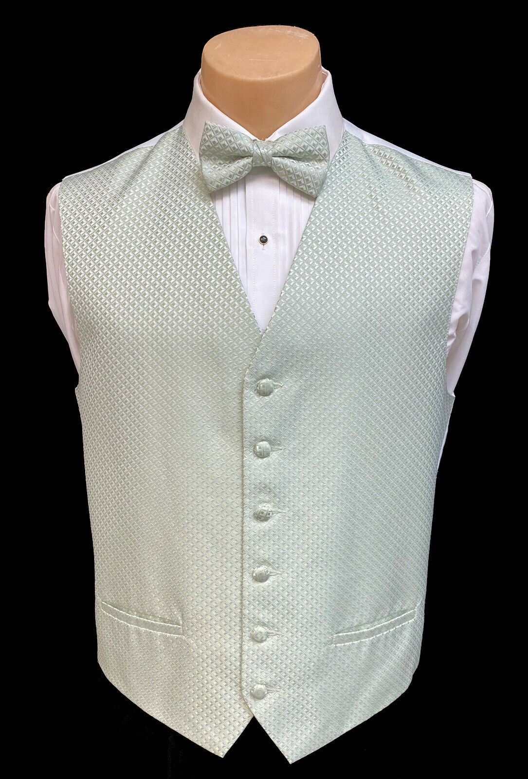 Mens After Six Green Tuxedo Vest and Bow Tie Formal Wedding Groom Prom L-Tall LL