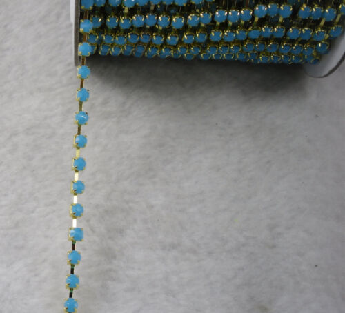 Ss16 Coloré Acrylique Cristal 4 mm strass gold Claw Chain Fashion Applique