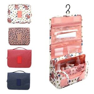 f46f1cc6b595 Details about Travel Bathroom Hanging Makup Bag W/Hook Large Dividers  Pockets Cosmetic Bag US