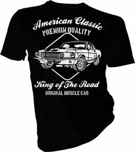 King-OF-THE-ROAD-Mustang-automobili-auto-d-039-epoca-Personalizzato-Per-Adulti-amp-Bambini-T-shirt