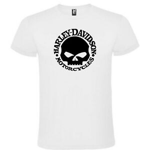 T-Shirt-Blanc-Harley-Davidson-Skull-Logo-Homme-S-M-L-XL-XXL-XXXL-Coton