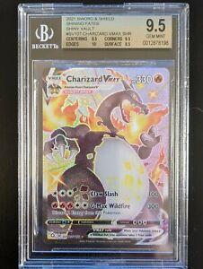 Pokemon English Shining Fates Shiny Charizard VMAX Full Art SV107/SV122 BGS 9.5!